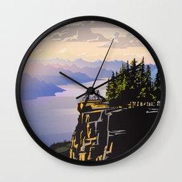 Retro travel BC poster Wall Clock