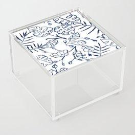 Tropical Plant Boho Chinoiserie Blue and White Acrylic Box