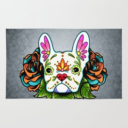 French Bulldog in White - Day of the Dead Sugar Skull Dog Rug
