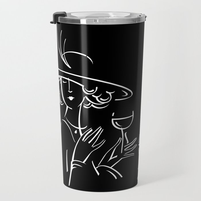 Abstract retro portrait of man and woman Travel Mug