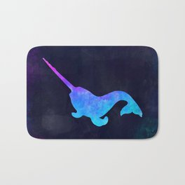 NARWHAL IN SPACE // Animal Graphic Art // Watercolor Canvas Painting // Modern Minimal Cute Bath Mat