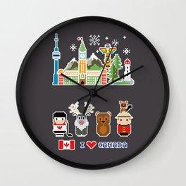 I love Canada - Canada Icons - Pixel Art Wall Clock