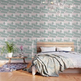 Modern Memphis Illustration - Gemetrical  Retro Art in Pink and Mint -  Mix & Match With Simplicity Wallpaper