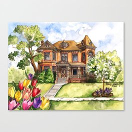 Victorian Mansion in the Spring Canvas Print