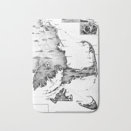Vintage Map of Cape Cod (1885) BW Bath Mat