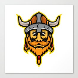 Viking Warrior or Norse Raider Head Mascot Canvas Print