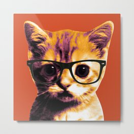 Pop Art Cat Orange Metal Print