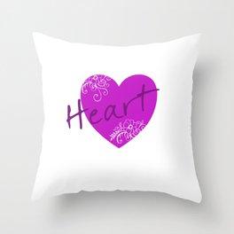 Purple Heart Flower Throw Pillow