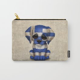 Cute Puppy Dog with flag of Greece Carry-All Pouch