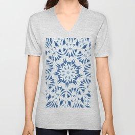 Snowflake Denim & White Unisex V-Neck