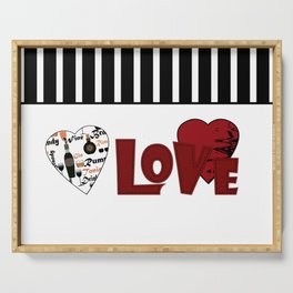 Valentine's day . Love. Black and white striped background . 2 Serving Tray