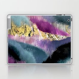 Gemini: a vibrant, colorful abstract piece in gold, purple, blue, black, and white Laptop & iPad Skin