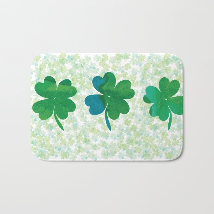 Lucky Watercolor Clovers Bath Mat