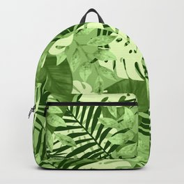 Green Tropical Leaves Pattern Backpack