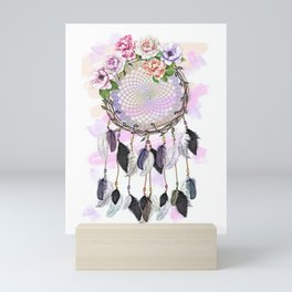 Dream Catcher, Catching Dreams, To Catch A Dream, Feathers and Flowers Dream Catcher Mini Art Print