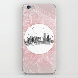 Boston, Massachusetts City Skyline Illustration Drawing iPhone Skin