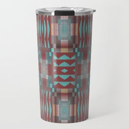 Coral Red Brown Turquoise Rustic Native American Indian Mosaic Pattern Travel Mug