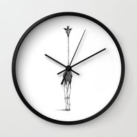 black Wall Clocks featuring Giraffe by Nicole Cioffe