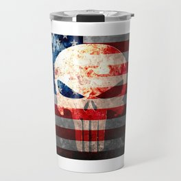 Punisher Themed Skull and American Flag on Distressed Metal Travel Mug