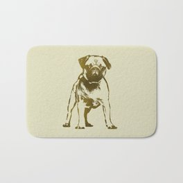 Pug Puppy sketch on canvas with gold accents Bath Mat