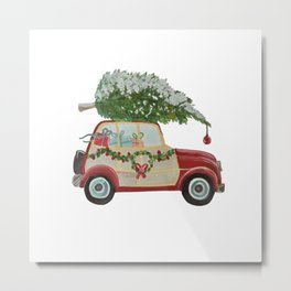 Vintage Christmas car with tree red Metal Print