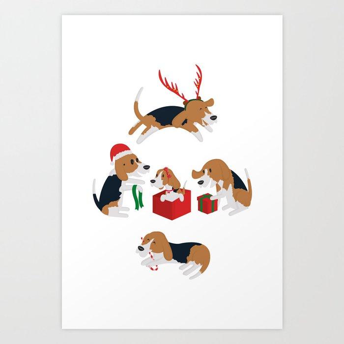 beagle christmas art print - Christmas Beagle