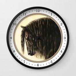 Black Friesian Draft Horse Wall Clock