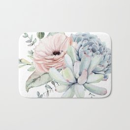 Pastel Succulents by Nature Magick Bath Mat