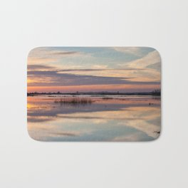 Sunrise over Biebrza river in Poland Bath Mat