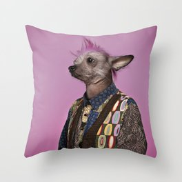 Punk Chinese Crested Dog Throw Pillow
