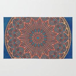 Wooden-Style Mandala Rug