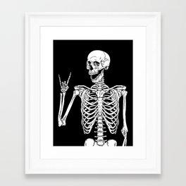 Rock and Roll Skeleton Framed Art Print