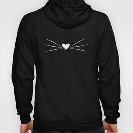 Cat Heart Nose & Whiskers White on Black Hoody