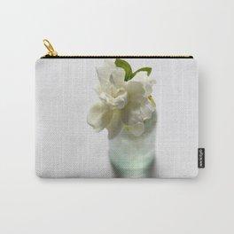 White Gardenia in Aqua Blue Vase Carry-All Pouch