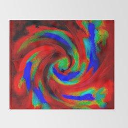 Red Blue Green Fireball Sky Explosion Throw Blanket
