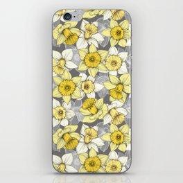 Daffodil Daze - yellow & grey daffodil illustration pattern iPhone Skin