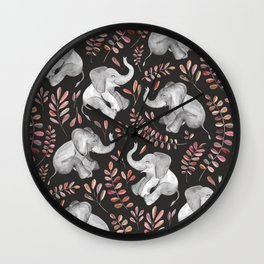 Laughing Baby Elephants - Coral Wall Clock