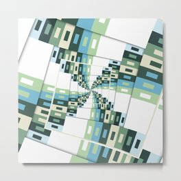 Retro Geometric Rotation Metal Print