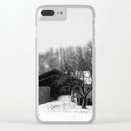 Chiemgau homestead in the snow storm | Chiemgauer Gehöft im Schneegestöber Clear iPhone Case