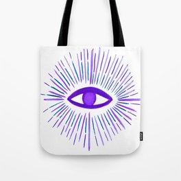 All Seeing Eye in Violet Purple Watercolor Tote Bag