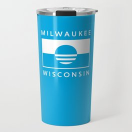 Milwaukee Wisconsin - Cyan - People's Flag of Milwaukee Travel Mug