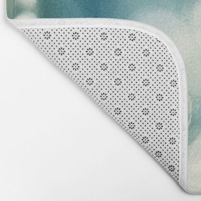 Bubble Photography, Teal Bathroom Art, Turquoise Aqua Laundry Photo Bath Mat
