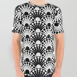 black and white art deco inspired fan pattern All Over Graphic Tee