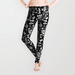 Linocut minimal botanical boho feathers nature inspired scandi black and white art Leggings