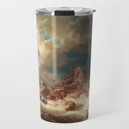Marcus Larson - Stormy Sea With Ship Wreck Travel Mug