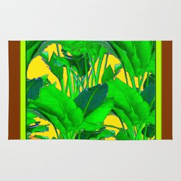 COFFEE BROWN TROPICAL GREEN & GOLD FOLIAGE ART Rug