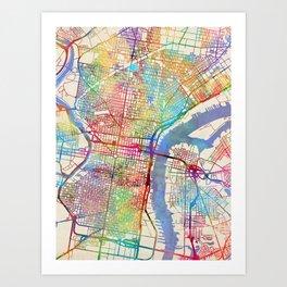 Philadelphia map art prints society6 philadelphia pennsylvania city street map art print freerunsca Gallery