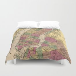 Vintage Map of NYC and Brooklyn (1868) Duvet Cover