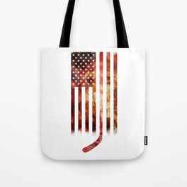 Ice Hockey USA Flag Tote Bag