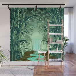 Fluorescent Waterfall on Surreal Bamboo Forest Wall Mural